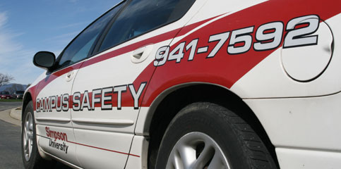 A photo of a Simpson University Campus Safety vehicle