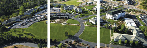 An aerial shot of Simpson University's campus