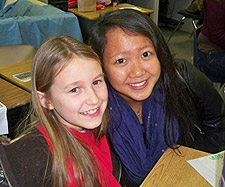 Juniper student Ashlyn Michaels, left, enjoys time with her Simpson University pen pal, Clara Law