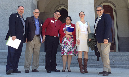 From left, Dr. Robin Dummer, Brad Williams, Zachary Sanchez, Elizabeth Haase, Melissa Hudson, and Dr. Tom Shaw visit the state Capitol in February to talk to officials about Cal Grant funding