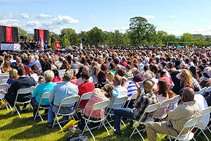 Family members and friends who attended Simpson University's commencement ceremony on April 25, 2015