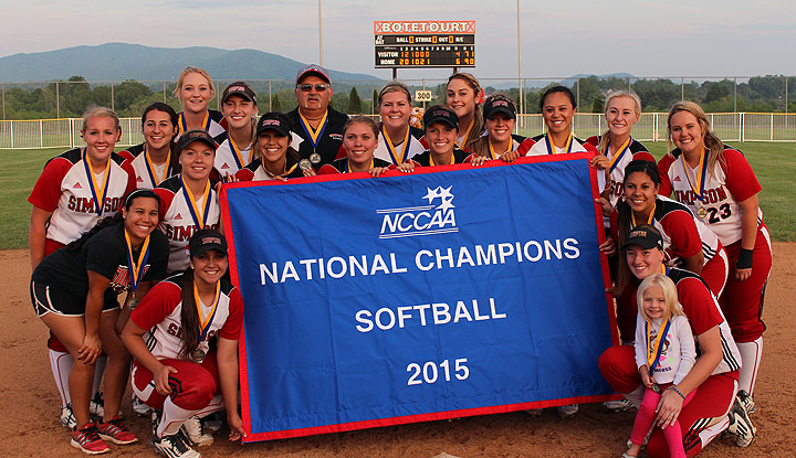 Simpson University softball national championship banner photo