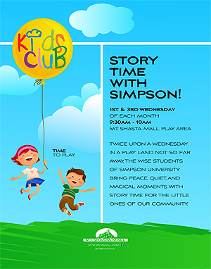 Simpson University Story Time at the Mt. Shasta Mall
