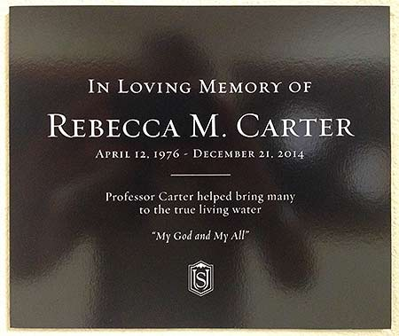 Rebecca Carter memorial plaque